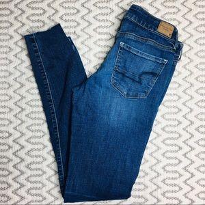 American Eagle Raw Hem Stretch Skinny Jeans 8 Long